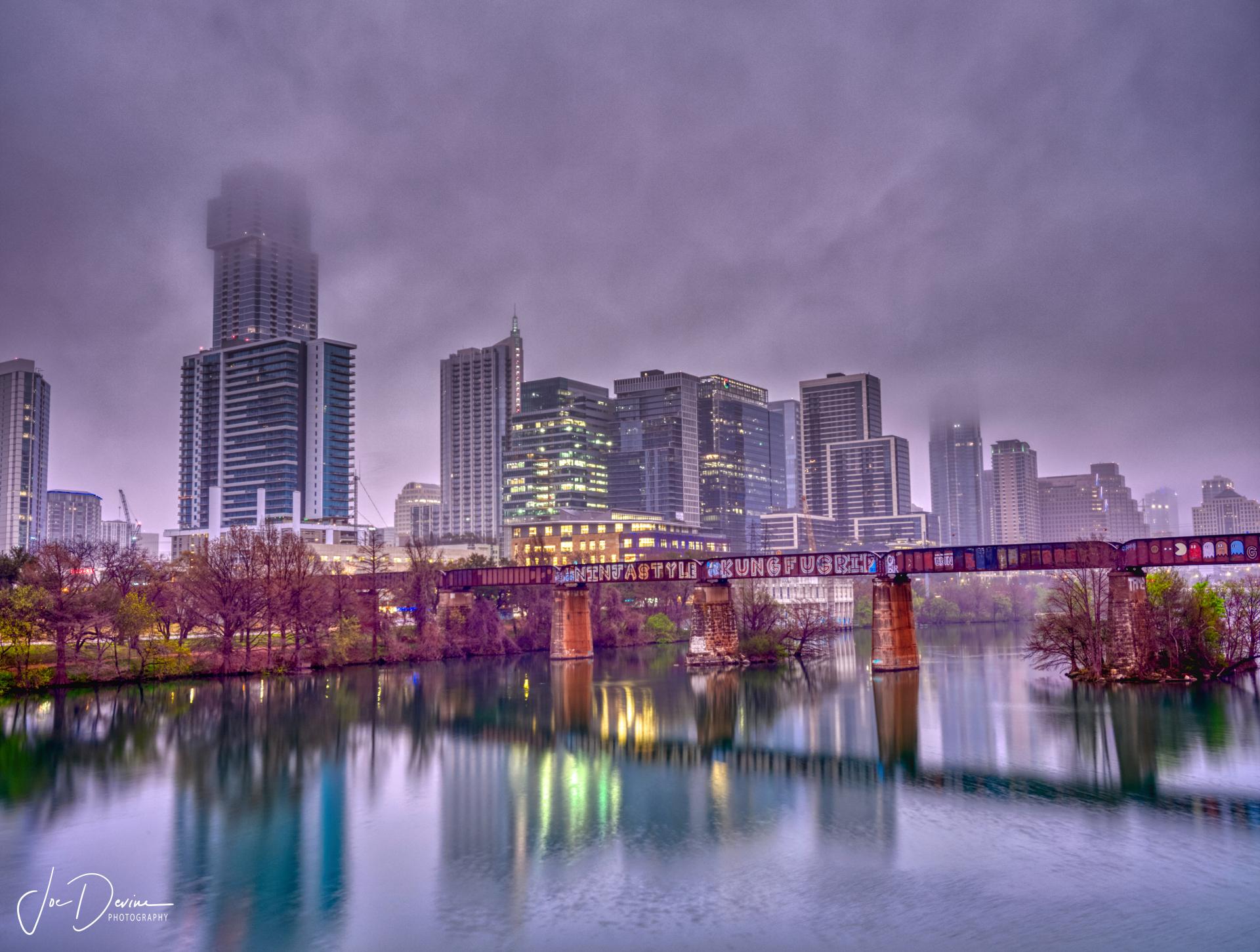 Austin Skyline in the Rain